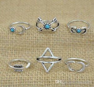 Wholesale moon rings resale online - Rings Sets Bohemian Style Pck Rings Arrows Moon Lucky Rings Set for Women Party Silver RING