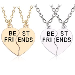 Wholesale best friendship for sale - Group buy 2pcs set Best Friends Pendant Gold corlour Metal Broken Heart BFF Necklace Women Friendship Jewelry Gifts Collares Dropshipping