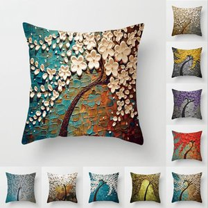 Wholesale sofa paintings trees for sale - Group buy Pillow Case Cover Oil Painting Trees Pillow Covers Peach Skin Pillowcase Cover Sofa Cushion Cover Size About cm Designs BT543