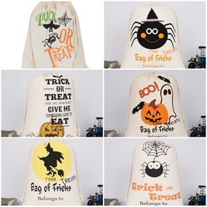 Wholesale halloween canvas bags for sale - Group buy Halloween Fashion Tote Bags Drawstring Bag Candy Gift Sack Pumpkin Letter Printed Canvas Christmas Party New DHA1220