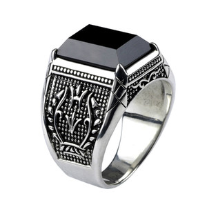 Wholesale mens sterling silver stone rings resale online - 925 Sterling Silver Mens Rings With Black Onyx Natural Stone Rings Retro Flower Engraved Punk Rock Vintage Jewelry
