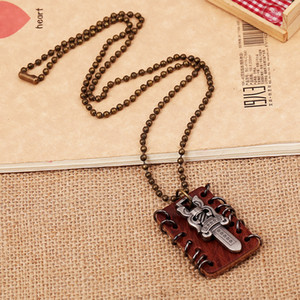 Wholesale alloy sword pendant resale online - Punk Rock Jewelry Fashion Leather Woven Necklace PSL045 Male s Alloy Sword Tags Pendant Hip Hop Accessories