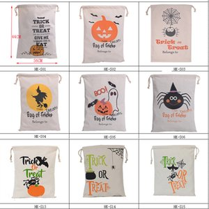 Wholesale halloween canvas bags for sale - Group buy Halloween Sacks Gift Bags Pumpkin Trick Or Treat Canvas Bag Large Drawstring Bag Santa Sacks Candy Bag Decorative Party Supplies GWC2274