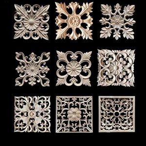 Wholesale furniture wood carving for sale - Group buy Decorative Wood Appliques Wood Carving Frame for Furniture Cabinet Door Nautical Home Decor Wooden Figurine Flower Pattern Carve
