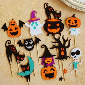 ingrosso cappelli da topper-Happy Halloween sentiva strega cappello pipistrello fantasma di zucca Forniture Cake Topper Trick or Treat partito Dessert Decoration