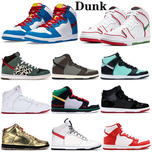 diamantes de renda venda por atacado-Nova Chegue Mid High Dunk Basketball Shoes Premium Doraemon Barroco Brown SB Mens Mulheres Diamante Espacial Jam Skate Sports Sneakers Trainers