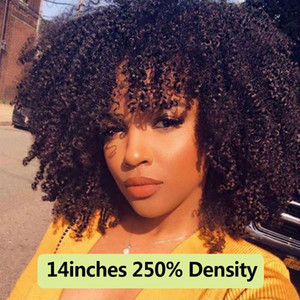 Wholesale short hand resale online - 250 Density Afro Kinky Curly Lace Front Human Hair Wigs With Bangs Short Bob Lace Frontal Wig For Women Full B C Dolago Black