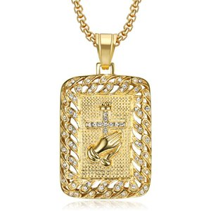 Wholesale praying hands for sale - Group buy Hip Hop Iced Out Praying Hands Cross Pendant Chains for Men Gold Color Stainless Steel Necklace Christian Jewelry Dropshipping