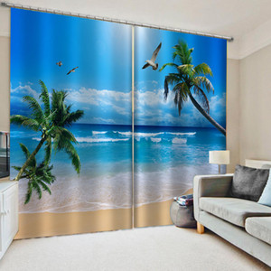 Custom blue beach curtains 3D Window Curtain Luxury living room decorate Cortina nature scenery curtain