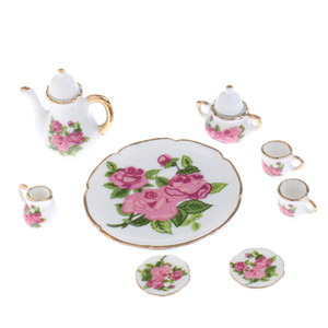 puppenhaus großhandel-8pcs Dollhouse Miniatures Rose Flowers Ceramic Tea Set Topf Untertasse Teller