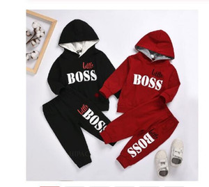 Wholesale hoodies kids resale online - 2PCS Boys Hoodies Sweatshirts Outfits Baby Boy Clothes For Kids Toddler Child Jogging little boss Casual Sports Suit Children Kid Suits
