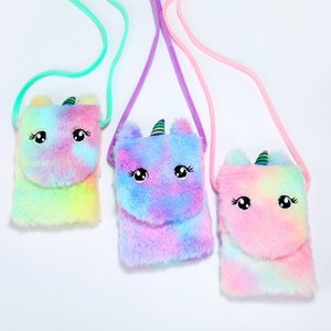 Wholesale girl handbags for kids resale online - Unicorn Plush Purse Handbag Kids Crossbody Cartoon Coin Purse for Children Toddler Baby Unicorn Stuffed Messenger Bag Little Girl Phone Bag