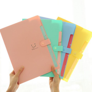 Wholesale files folders stationery for sale - Group buy New Color A4 Kawaii Carpetas Filing Supplies Smile Waterproof File Folder Layers Document Bag Office Stationery LX3232