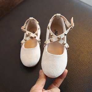 Wholesale solid color girls sneakers for sale - Group buy Kids Shoes for Girl Princess Single Sneakers Spring Fashion Rivet Solid Color Flat Single Shoes Children Baby Girl SHS003