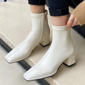 Wholesale zip head resale online - Women Square Head High Heels Ankle Boots Zip Fall Winter Fashion Sewing Dress Black White Booties
