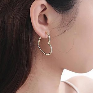 Wholesale gold hoop earings resale online - High Quality Gold Big Heart Hoop Earring For Women Korean Femme Earings Wedding Fashion Jewelry New oorbellen