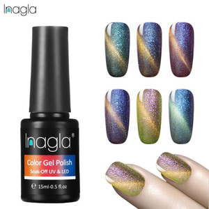 unha 24 venda por atacado-Inagla ml Magnet Chameleon Cat Eye Gel Polish Bling Cores Soak Off prego Brasão Art Design Base Top UV LED de Longa Duração