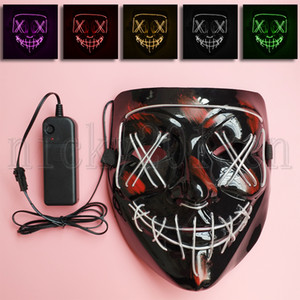 Wholesale scary white face mask for sale - Group buy LED EL Neon Black Face Mask Wire Stitches Purge Scary Light Up Glow Fancy Plastic Halloween Cosplay Party Costume