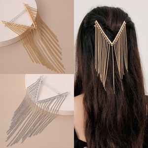 Wholesale sterling silver hair barrette resale online - 1PCS Elegant Crystal Long Tassel Chain Hairpin Barrettes For Women Hair Clip Hair Accessories
