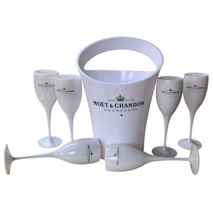 6 Cups + 1 Bucket Ice Bucket and Wine Glass 3000ml Acrylic Goblets champagne Glasses wedding Wine Bar Party Wine Bottle Cooler