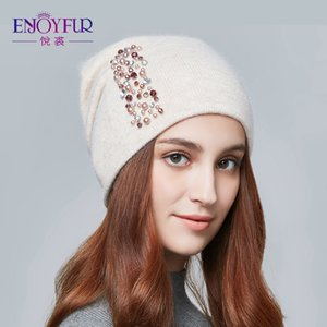 Wholesale women caps rhinestones resale online - ENJOYFUR Fashion Autumn Knitted Hat Female Bevel Edge Rhinestones Winter Hats Women Cashmere Gravity Falls Cap Girl Beanies