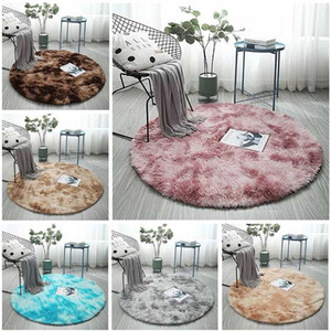 Wholesale round fur rug for sale - Group buy Pink Round Carpets Nordic Ins Style Gradient Colorful Rug For Living Room Bedroom Rugs Fur Mats Large Size Hanging Basket Mat