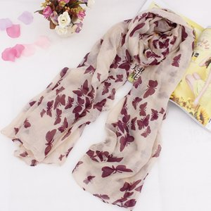 Wholesale cotton voile scarves resale online - Brand Design Colors Scarf Winter Scarves Fashion Elegant Romantic Butterfly Printed Cotton Voile Scarf For Woman