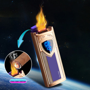 Wholesale usb fire lighter for sale - Group buy 2020 New Gravity Induction Ignition Lighter Big Power Flame Cigar Cigarette Lighter USB Charge Double Fire Double Arc Lighter