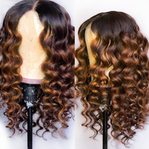 Wholesale made chinese for sale - Group buy Full Lace Human Hair Wigs Ombre Two Tone B Loose Wavy Brazilian Virgin Hair Density Natural Hairline Glueless Bleached Knots