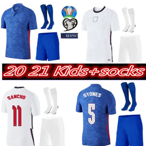 copos para meninos venda por atacado-Crianças Crianças Meninos Jerseys de futebol Short Socks Angleterre Euro Cup Uniforme Completo Sterling Kane Sancho Rashford Football Shirts