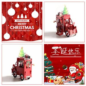 Wholesale greeting car resale online - Christmas Car D Up Greeting Cards Wedding Birthday Holiday Postcard Gifts Xmas Party Baby Gift For New