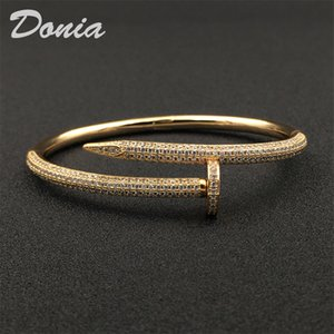 Wholesale springs nails resale online - Donia jewelry party European and American fashion large nails classic micro inlaid Zircon Bracelet Designer Bracelet