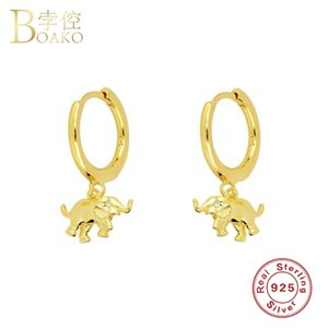 Wholesale sterling silver elephant jewelry resale online - Boako Sterling Silver Earring European and American Elephant Hoop Earrings For Woman Girls Round Pendientes Fine Jewelry