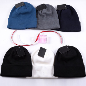 Wholesale customs hats resale online - Unisex Beanies Winter Knitted Hat Letters Embroidered Label Cap Hat For Woman Warm Solid Color Men Custom Acrylic Outdoor Bonnet Hat