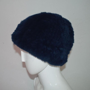 Wholesale hats ship china for sale - Group buy China AU607 Soft Rex Dark Blue Women Hat Winter Real Fur Hats