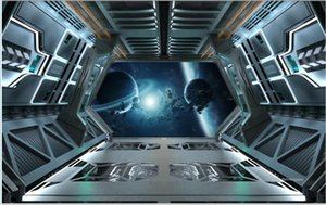 Wholesale wallpaper door murals resale online - 3d wallpaper custom photo mural Cool industrial style spaceship door bar KTV home decor d wall murals wallpaper for living room