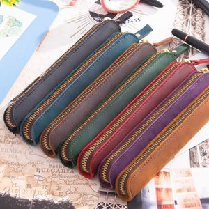 Wholesale pencil handmade pen for sale - Group buy Handmade Leather Pencil Bag Vintage Retro Zipper Fountain Pen Brush Pouch Case