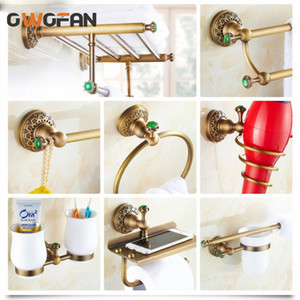 Wholesale bath hardware accessories for sale - Group buy Bath Hardware Sets Europe Luxury Antique Bathroom Towel Shelf Kit Tempered Glass Shelves Accessories Accessory Set
