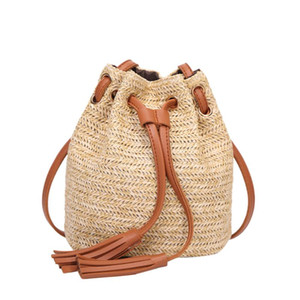 bolsa de playa para mujer al por mayor-Ocardian Handbags Women s Woven Bag Women Linen Wicker Beach Circle Fashion Straw Bohemia Vintage Travel Bucket Messenger Bag NUEVO m16 Glouq
