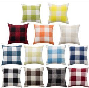 Wholesale case closure resale online - Pillows Case Color Plaid Lumbar Support Cushion Covers Linen Yarn dyed Pillow Case Home Decoration For Bed Hidden Zipper Closure DHA981