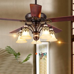 Wholesale ceiling fans 42 resale online - 42 inch Amercian led ceiling fans with light wooden blades E27 Reverse Forward cm cm country wire switch