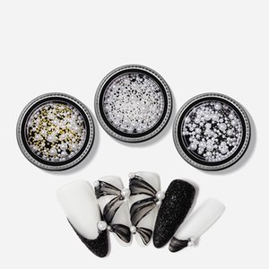 Wholesale nail art pearl stickers resale online - 1Pcs Nail Art Decoration Round White Pearl Gold And Silver Steel Bead Jewelry Mixed Ballet Shoes Ribbon Nail Transfer Sticker