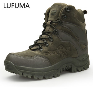Wholesale men leather trekking shoes resale online - LUFUMA Tactical Combat Boots Men Genuine Leather US Army Hunting Trekking Camping Mountaineering Winter Work Shoes Boot