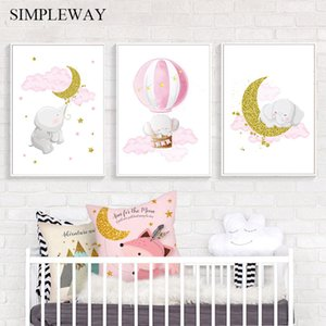 Wholesale canvas art moon resale online - Elephant Moon Balloon Poster Baby Nursery Wall Art Print Cartoon Canvas Painting Nordic Kids Decoration Picture Child Room Decor