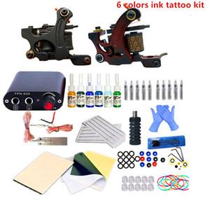 Cheap Tattoo Kit Body Art 2 Coils Guns Machine Set 6 Colors Tattoo Ink Supplies Power Supply Permanent Makeup Tattoo Kits