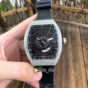 Wholesale i watches resale online - New VANGUARD V SC DT ICON I LCK Automatic Mens Watch Black D Dial Silver Diamond Steel Case Rubber Strap Watches Shine_time