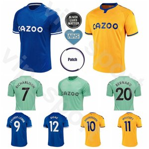 20 21 Everton Soccer 7 RICHARLISON Jersey 9 CALVERT LEWIN 29 SIDIBE 10 SIGURDSSON 11 WALCOTT 27 KEAN 23 COLEMAN Football Shirt Kits