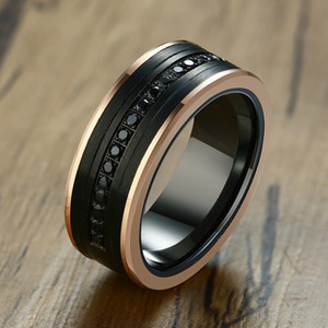 Wholesale tungsten rings men for sale - Group buy 8MM LUXURY WEDDING BAND TUNGSTEN CARBIDE RING BLACK CZ Zircon STONE ROSE GOLD SIDE MEN ETERNITY SUPER JEWELRY