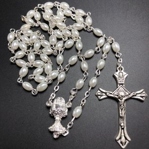 Wholesale white rosary for sale - Group buy set white mm glass pear rosary oval bead catholic rosario cute pearl rosary necklace chalice center