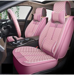 Universal Fit Car Accessories Interior Car Seat Covers For Sedan Durable Leather Adjuatable Five Seats Full Set 5Pcs Covers For SUV Pink